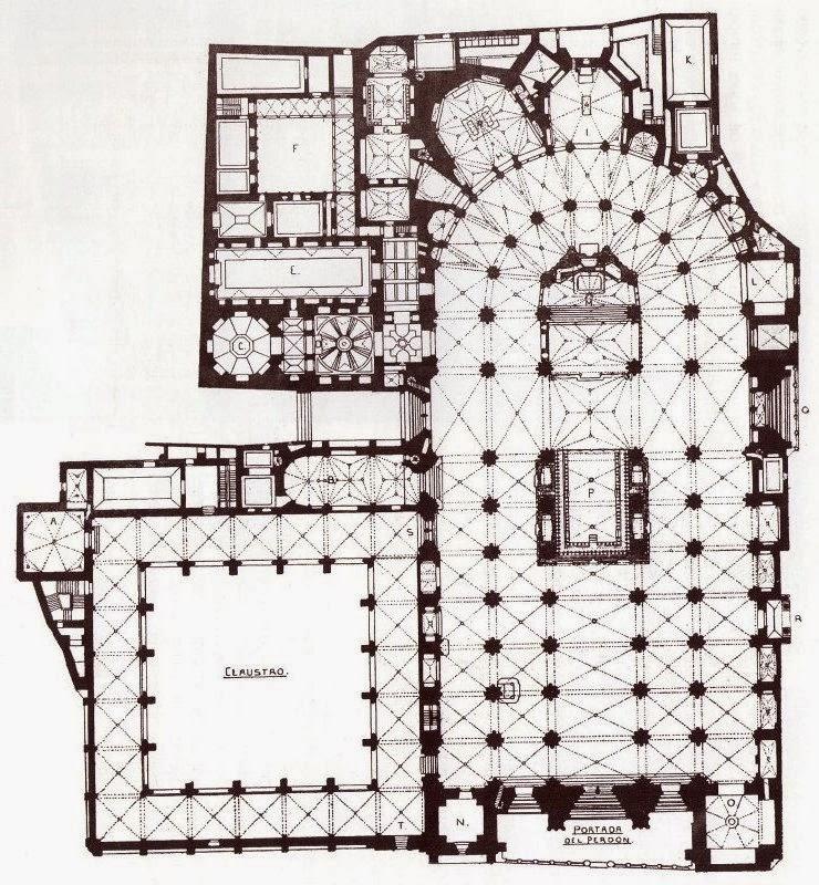 Planta de la catedral de Toledo con las capillas, ochavo, sacristía y claustro.