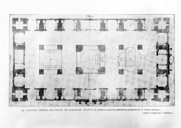Ventura Rodríguez. Planta de la basílica del Pilar. Foto: archivo Ruiz-Vernacci IPCE