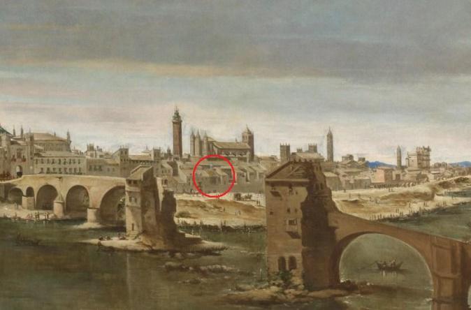 Detalle de la capilla original de la Virgen del Pilar (señalada con un círculo rojo) en la Vista de Zaragoza de Martínez del Mazo. Museo del Prado