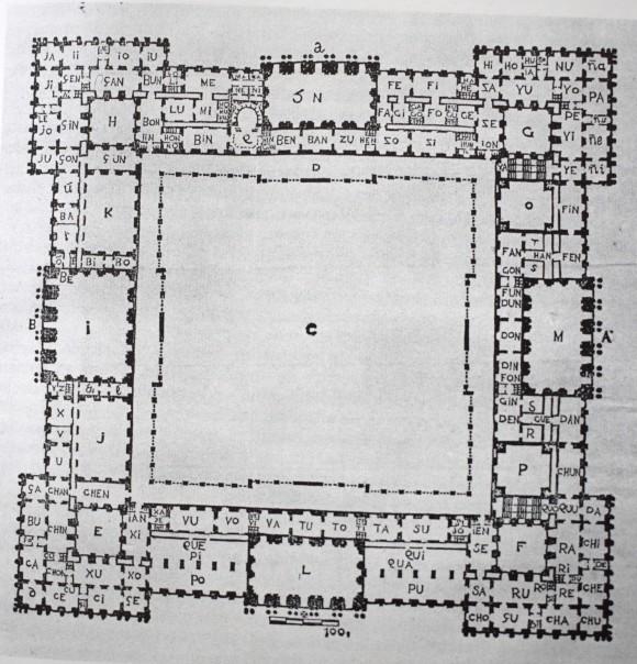 Manuel Losada. Planta del proyecto de Palacio Real para Felipe V. 1740.