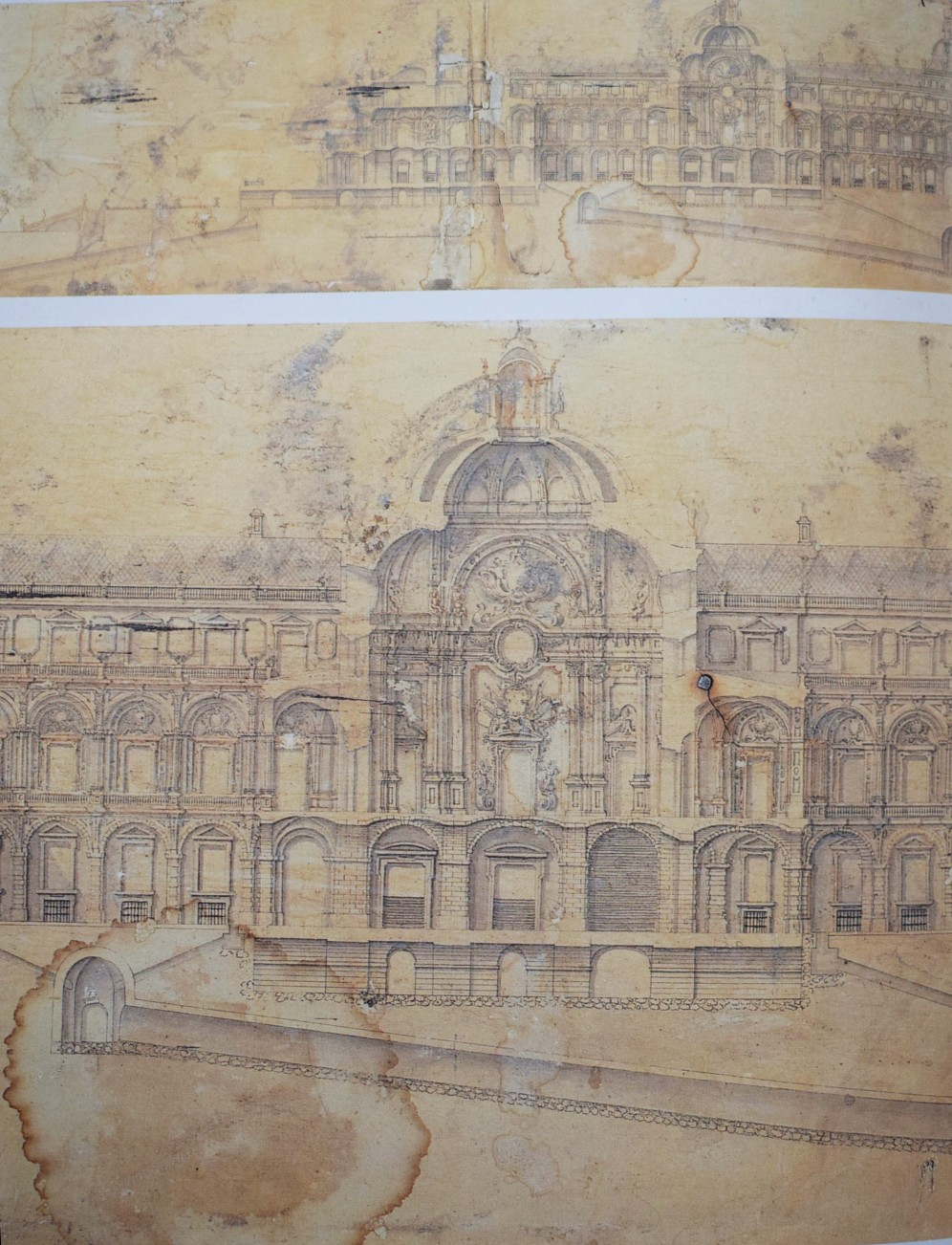 Pedro de Ribera. Sección del proyecto de Palacio Real (Completo y detalle de salón cupulado) 1736.