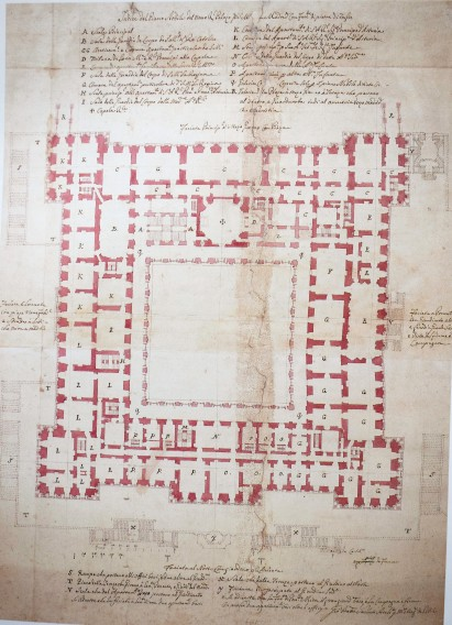 Giovanni Battista Sacchetti. Planta del primer proyecto para el Palacio Real Nuevo de Madrid.