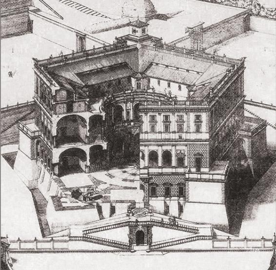 Paul Letarouilly (grabador) Estampa con alzado y sección del Palazzo Farnese en Caprarola de Jacopo Barozzi da Vignola