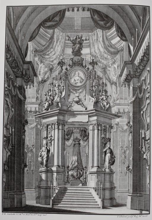 Giovanni Battista Sachetti (traza). Túmulo para la reina Bárbara de Braganza en la Encarnación. 1758.