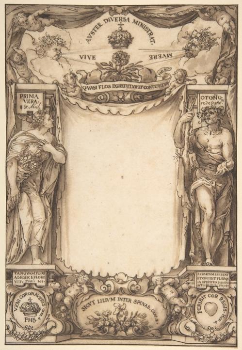 Sebastián de Herrera. Diseño para el libro de exequias de Felipe IV