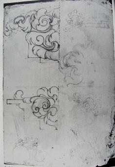 Sebastián de Herrera. Dibujo con motivos decorativos y león y águila para retrato alegórico de Felipe IV. A.H.N.