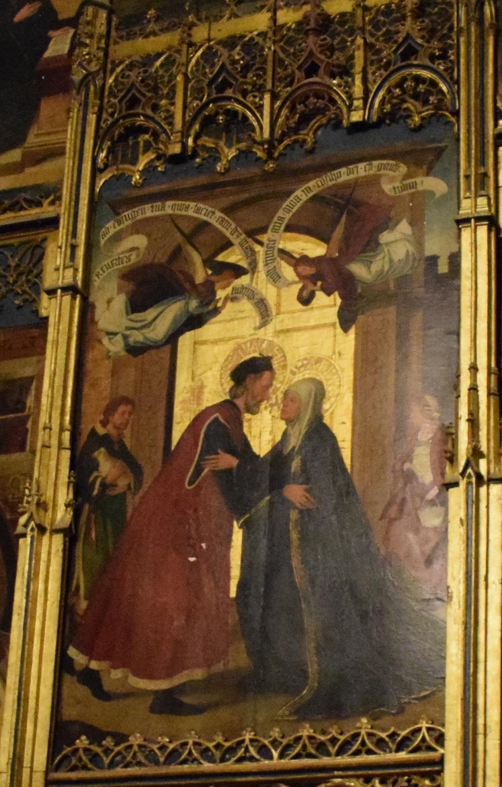 Detalle del abrazo en la Puerta Dorada. Tabla central del retablo. Capilla de la Concepción. Retablo atribuído a Juan de Borgoña, ca. 1502. Catedral de Toledo. Foto: @cipripedia.