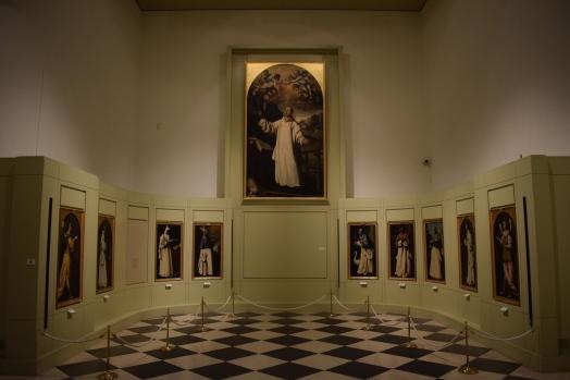 Disposición de las pinturas del Francisco de Zurbarán que proceden de la Cartuja de Jerez. Museo de Cádiz. Foto: Cipripedia.