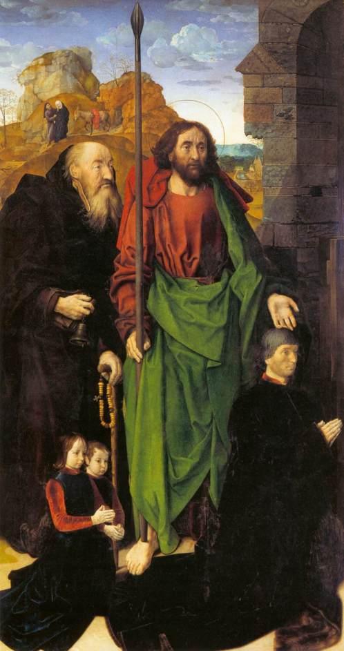 Hugo van der Goes. Tabla lateral izquierda con donantes y Santos. Galería de los Uffizi. Florencia. Foto: wikicommons
