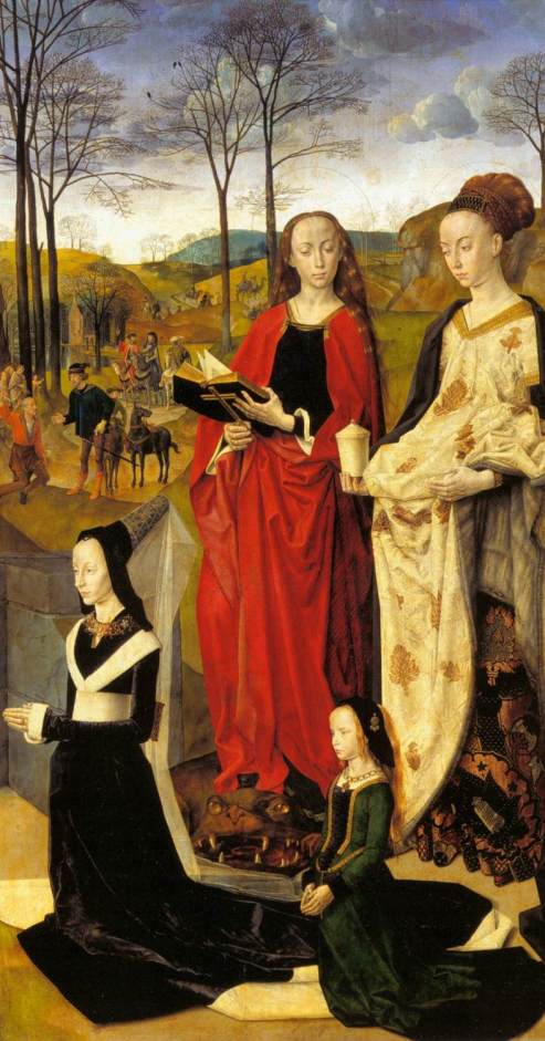 Hugo van der Goes. Tabla lateral derecha con donantes y Santas. Galería de los Uffizi. Florencia. Foto: wikicommons