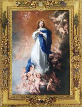 """Murillo. Inmaculada Concepción, llamada """"de los Venerables"""" con su marco original durante una exposición dedicada al pintor sevillano en 2012."""