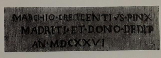 Crescenzi. detalle de la inscripción al dorso del bodegón de uvas y peras.