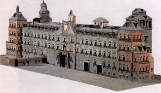 Maqueta de la fachada del Alcázar de Madrid. Museo de Historia.