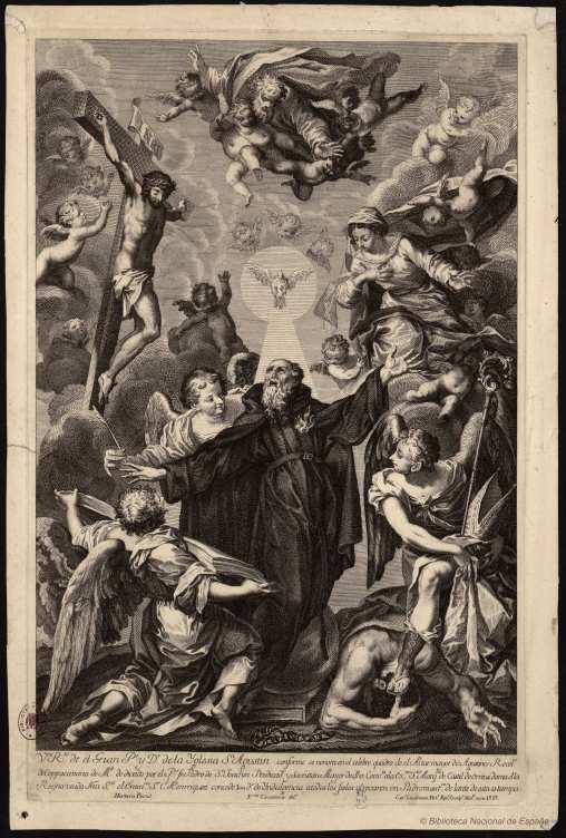 Carlo Casanova (grabador), según Sebastián de Herrera Barnuevo. Apoteosis de San Agustín. Foto: Biblioteca Nacional.