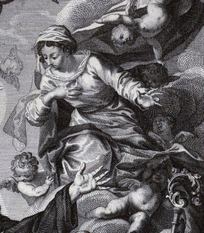 Carlo Casanova (grab.) según original de Sebastián Herrera Barnuevo. Apoteosis de San Agustín (detalle de la Virgen). Foto: Biblioteca Nacional