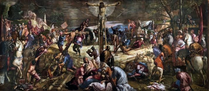 Tintoretto, La crocifissione, Sala dell'albergo, Scuola di San Rocco, Venezia. Foto: WGA.
