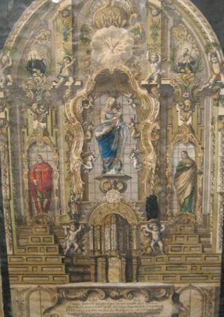 Minguet (grab). Retablo de Nuestra Señora del Buen Consejo en el Colegio Imperial de Madrid. s. XVIII. foto: wikipedia.