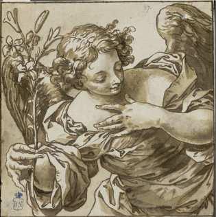 Sebastián de Herrera Barnuevo. Arcángel San Gabriel. Dibujo. Foto: Biblioteca Nacional.