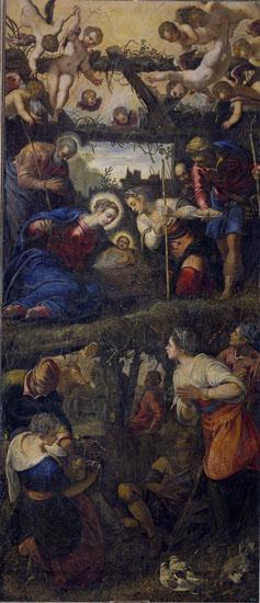 Tintoretto, Adoración de los pastores, 1583, 432×186 cm., Monasterio de San Lorenzo de El Escorial.