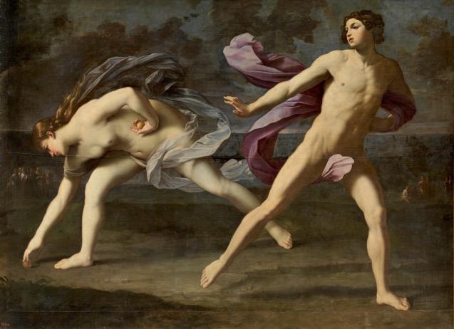 Guido Reni. Hipómenes y Atalanta 1618 - 1619. Óleo sobre lienzo, 206 x 297 cm. Museo del Prado.