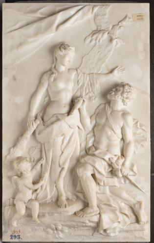 Antonio Dumandré. Hércules y Ónfale Siglo XVIII. Mármol, 82 x 50 cm. Museo del Prado.