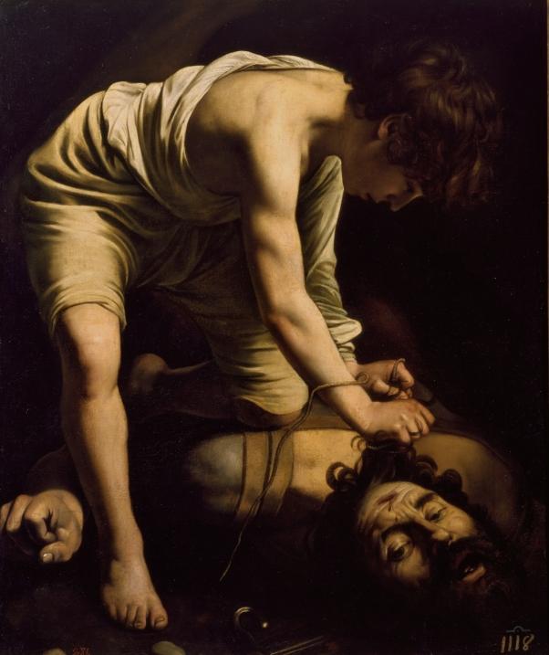 Caravaggio. David vencedor de Goliat. Hacia 1600. Óleo sobre lienzo, 110,4 x 91,3 cm. Museo del Prado.