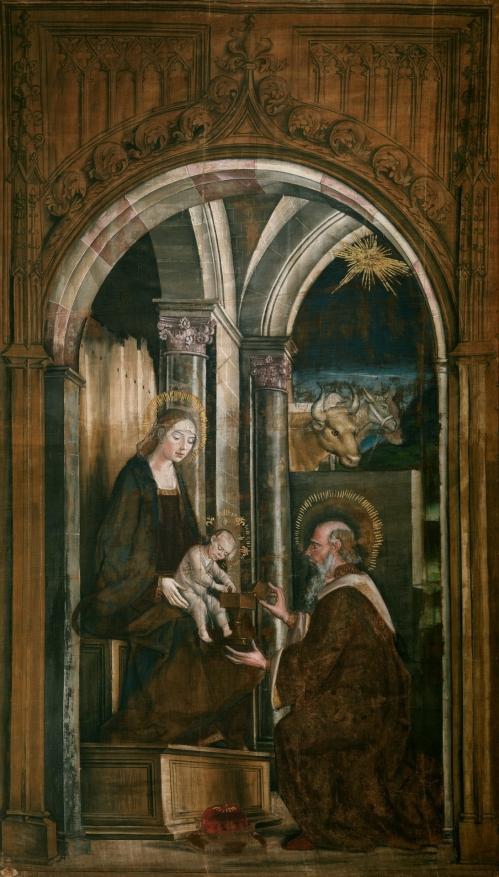 Pedro Berruguete. Adoración del Rey Mago. Sarga. Museo del Prado.