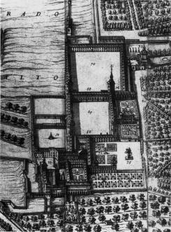 Pedro de Teixeira. Detalle del Palacio del Buen Retiro en la planimetría de Madrid. 1656.