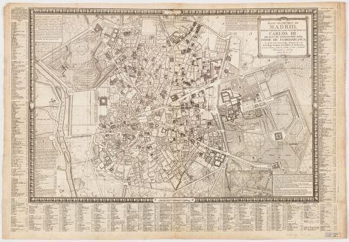 Tomás López. Plano geométrico de Madrid : dedicado y presentado al rey nuestro Señor Don Carlos III por mano del excelentisimo Señor Conde de Floridablanca. 1785
