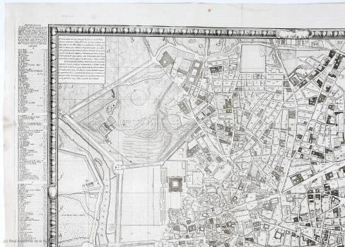 Tomás López. Plano geométrico de Madrid : dedicado y presentado al rey nuestro Señor Don Carlos III por mano del excelentisimo Señor Conde de Floridablanca (detalle)