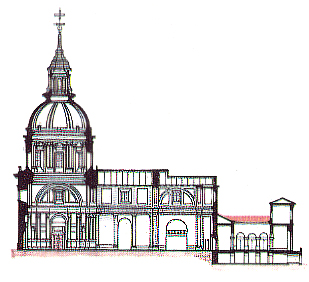 secc. long. capilla S. Isidro con S. Andrés y atrio cap. Obi