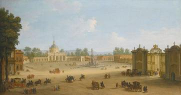 Antonio Joli. Vista de la Plaza de San Antonio de Aranjuez. ca. 1654. foto: wikipedia.