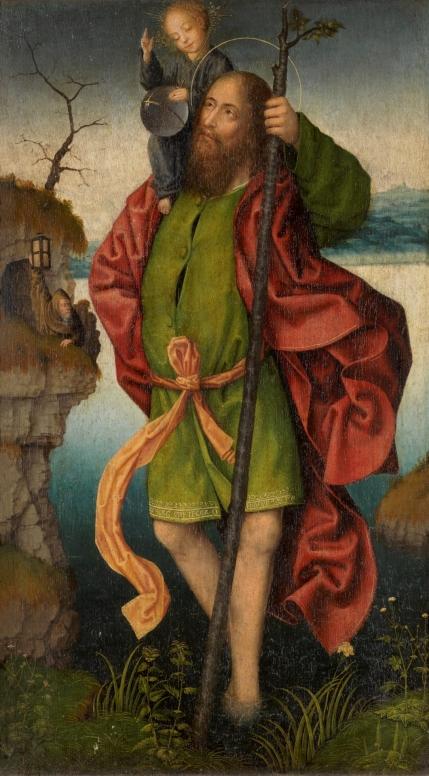 Anónimo. San Cristóbal. s. XVI (reverso de la Virgen Anunciada). Museo del Prado.