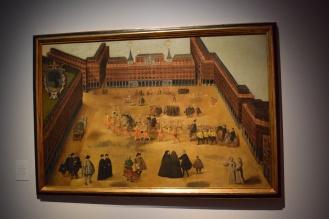 Anónimo: Perspectiva de la Plaza Mayor, h. 1634. Óleo sobre lienzo 1080 x 1660 mm. Museo de Historia de Madrid