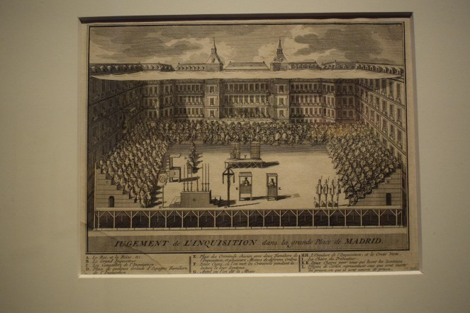 "Anónimo. ""Jugement De L'Inquisition dans la grande Place de MADRID"". Auto de Fe en la Plaza Mayor. 1632. Estampa. 176 x 225 mm. Museo de Historia de Madrid"