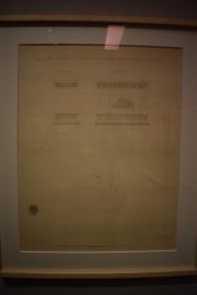 Juan José Sanchez Pescador. Proyecto de pedestal para una estatua ecuestre de Felipe III en la Plaza de la Constitución, 3 de junio de 1847. Tinta negra y aguada rosa sobre papel. Archivo de la Villa. ASA 0-69-34-3 (2).