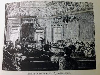 Estampa con el salón de sesiones de la Casa de la Villa publicada en la guía de Fernández de los Ríos.