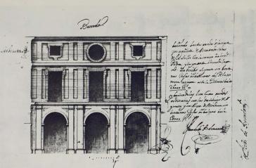 Teodoro Ardemans. Alzado del Patio de la Casa de la Villa. ASA 2-499-8. Foto: Catálogo Juan Gómez de Mora.