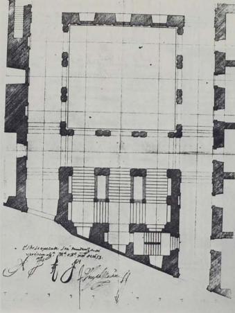 José de Villarreal. Planta del patio y escalera de la Casa de la Villa. 1653. ASA. Foto: Catálogo Juan Gómez de Mora 1986.