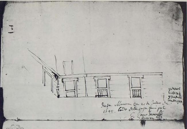Juan Gómez de Mora. Dibujo con solución para el piso bajo de la Casa de la Villa. ASA 2-499-1. Foto: Catálogo Juán Gómez de Mora 1986.