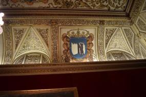 Detalle de la decoración del techo. Salón Goya. Casa de la Villa. ca. 1630.
