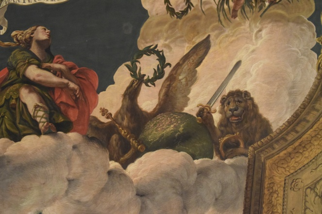 Antonio Palomino. Detalle del león y el águila con los símbolos del poder. Techo del salón de plenos. Foto: @cipripedia