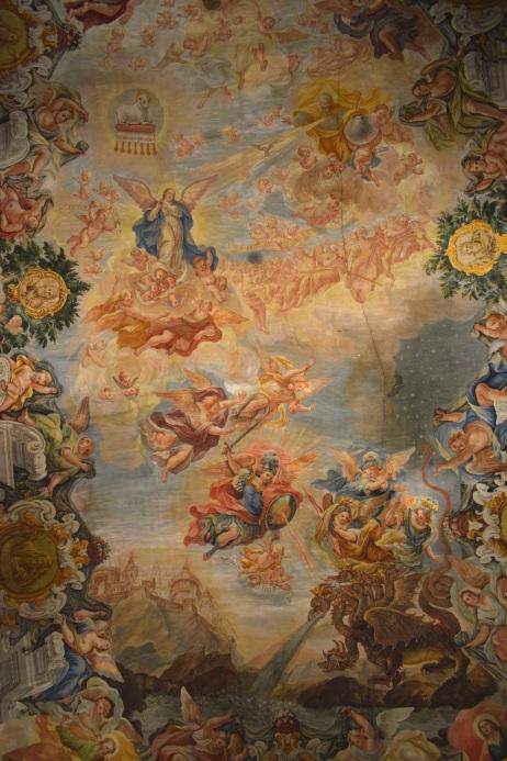 Juan Delgado. Visión del Apocalipsis (detalle). Techo capilla de la Inmaculada. Instituto San Isidro de Madrid. Foto: @cipripedia.