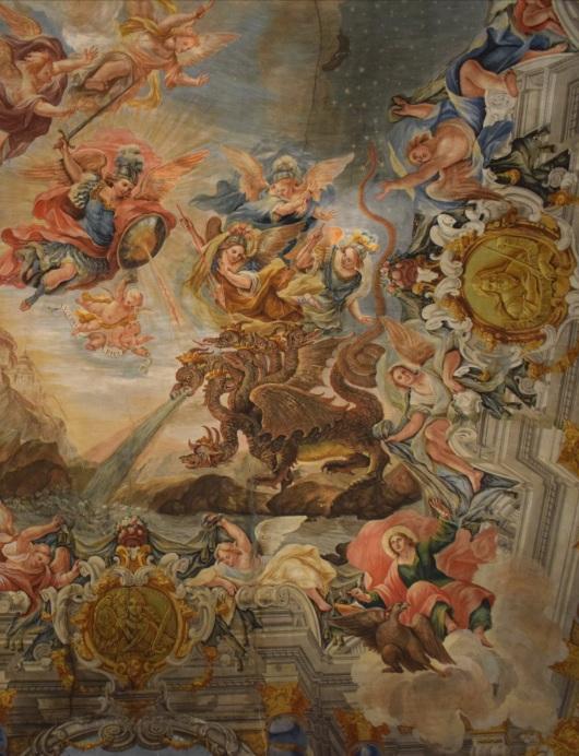 Juan Delgado. Detalle de San Juan Evangelista, vestido de verde y rojo y acompañado de su águila, en el techo de la Capilla de la Inmaculada del Instituto San Isidro de Madrid. Foto: @cipripedia