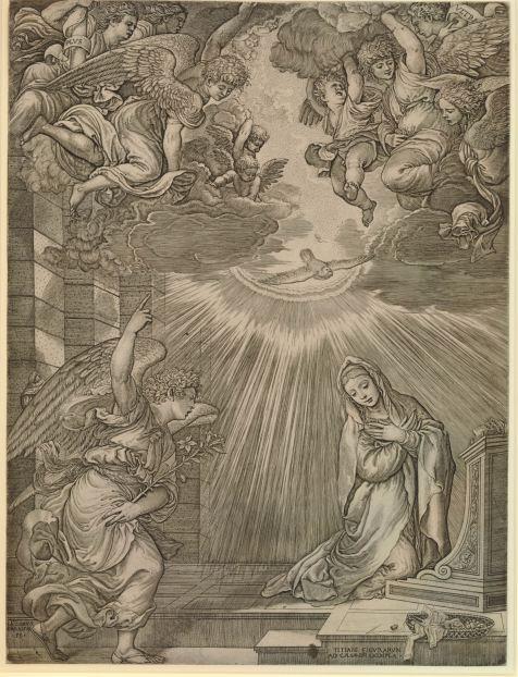Jacopo Caraglio, siguiendo la obra de Tiziano: La Anunciación. Londres, British Museum