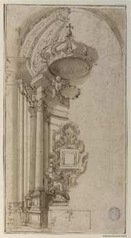 Carlo Fontana. Proyecto de baldaquino y altar. Biblioteca Nacional.