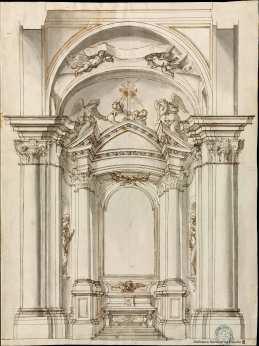 Carlo Fontana. Proyecto de capilla. Biblioteca Nacional.