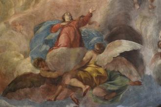 Antonio Palomino. Asunción de la Virgen (detalle). Fresco del oratorio de la Casa de la Villa de Madrid. foto: @cipripedia.