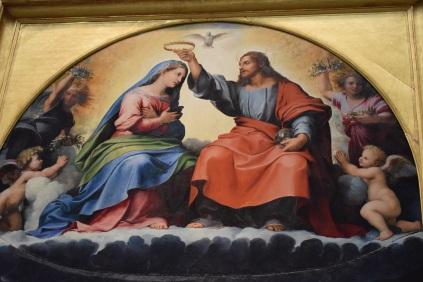 Rafael y Giulio Romano. Coronación de la Virgen (detalle zona superior). Museo Vaticanos. Roma. foto: @cipripedia.